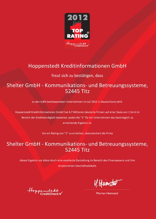 Top Rating Zertifikat 2012 Hoppenstedt
